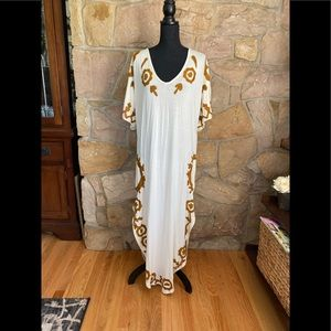 Free People gold embroidered lace up back maxi